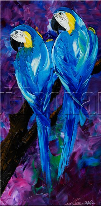 animal art blue parrot textured palette knife canvas oil painting