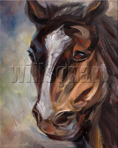 animal art horse portrait textured palette knife canvas oil painting 16x20inches