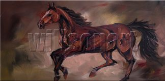 animal art horse portrait textured palette knife canvas oil painting 18x36inches