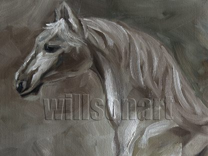 animal art horse portrait textured palette knife canvas oil painting pony