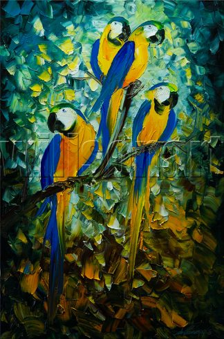 animal art parrot bird textured palette knife canvas oil painting