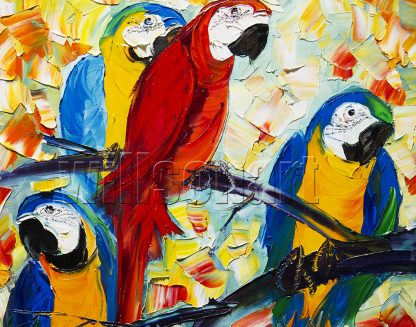 animal art parrot textured palette knife canvas oil painting
