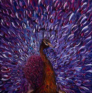 animal art peacock bird textured palette knife canvas oil painting