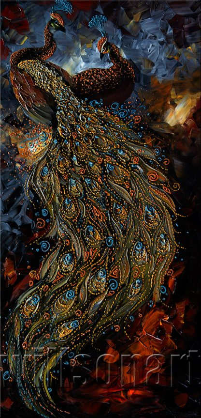 animal art peacock bird textured palette knife canvas oil painting modern home decor 20x40inches