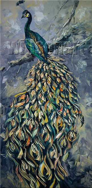 animal art peacock bird textured palette knife canvas painting 20x40inches