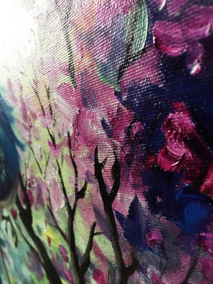 animal art peacock bird textured palette knife canvas painting
