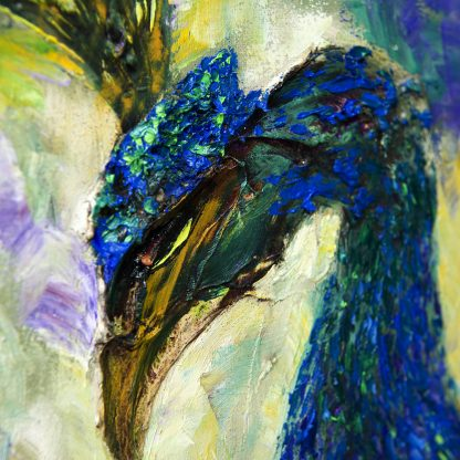 animal art peacock bird textured palette knife canvas painting wall decor 12x16inches
