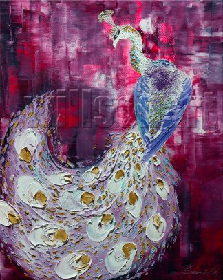 animal art peacock bird textured palette knife canvas painting wall decor 16x20inches