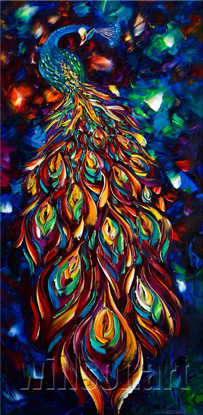animal art peacock bird textured palette knife canvas painting wall decor 20x40inches