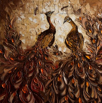 animal art peacock bird textured palette knife canvas painting wall decor 30x30inches