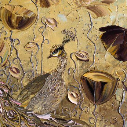 animal art peacock bird textured palette knife canvas painting wall decor