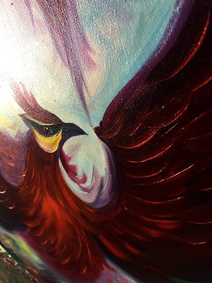 animal art peacock bird textured palette knife canvas painting wall decor round canvas 60cm