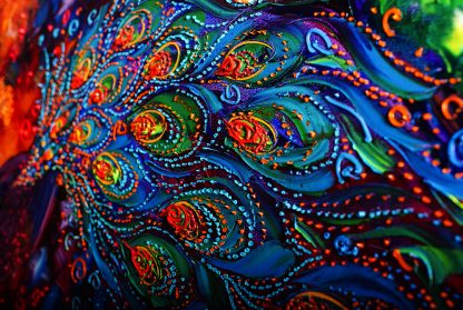 animal art peacock textured palette knife canvas oil painting 20x40inches