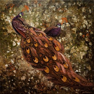 animal art peacock textured palette knife canvas oil painting