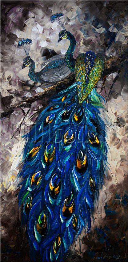 animal art peacock textured palette knife canvas oil painting modern home decor