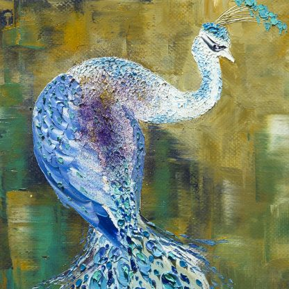 animal art peacock textured palette knife canvas oil painting wall decor 16x20inches