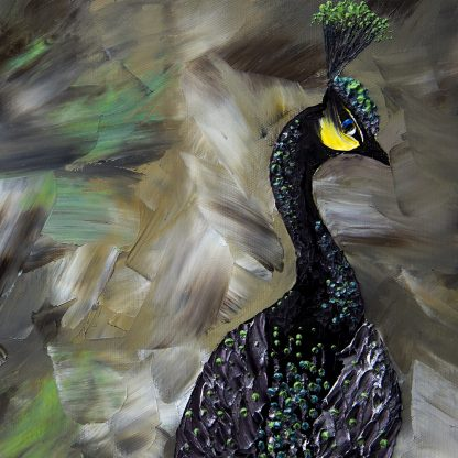 animal art peacock textured palette knife canvas oil painting wall decor 20x40inches