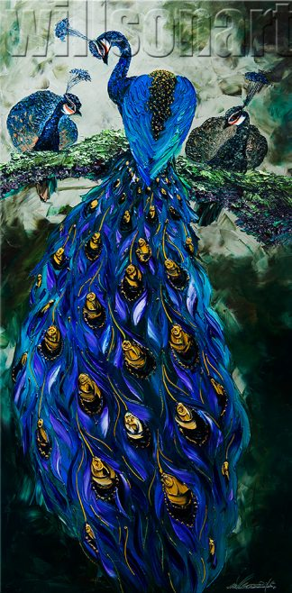 animal art peacock textured palette knife canvas oil painting wall decor 24x48inches