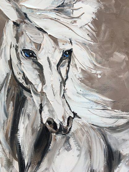 animal portrait textured palette knife horse canvas painting