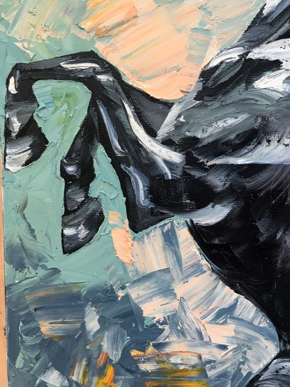 animal portrait textured palette knife horse canvas painting 18x36inches