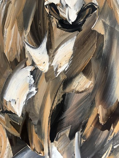 animal portrait textured palette knife horse canvas painting 20x40inches