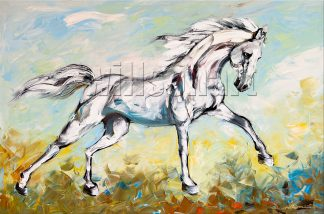animal portrait textured palette knife horse canvas painting 24x36inches