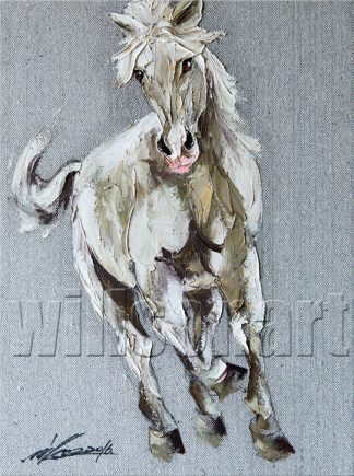 animal portrait textured palette knife horse oil painting 12x16inches