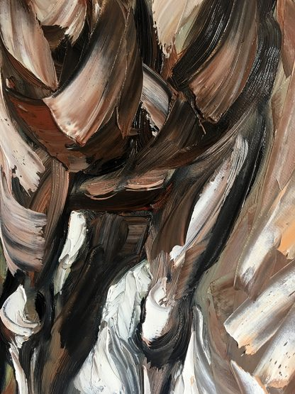 animal portrait textured palette knife horse oil painting 12x36inches