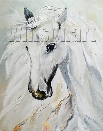 animal portrait textured palette knife horse oil painting 16x20inches