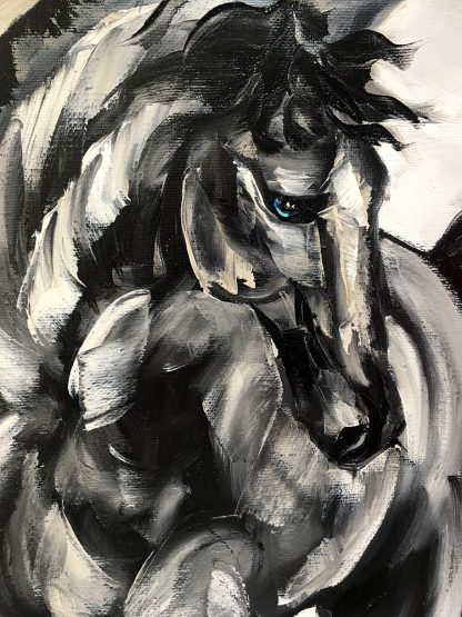 animal portrait textured palette knife horse-oil painting 18x36inches