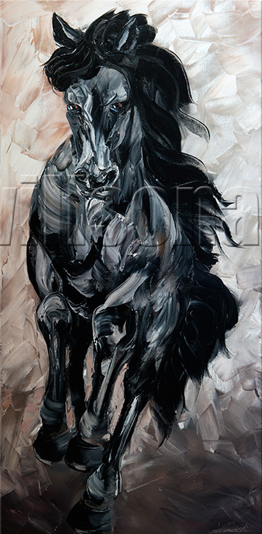 animal portrait textured palette knife horse oil painting 20x40inches