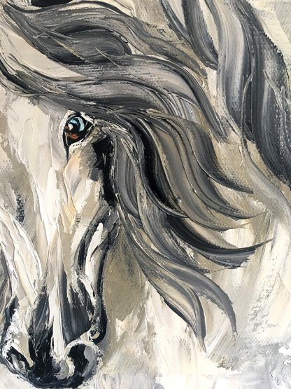 animal portrait textured palette knife horse oil painting 24x36inches