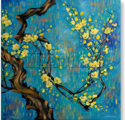 asian blossoms plum oil painting