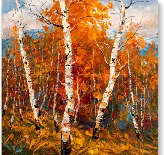 autumn birch forest landscape painting