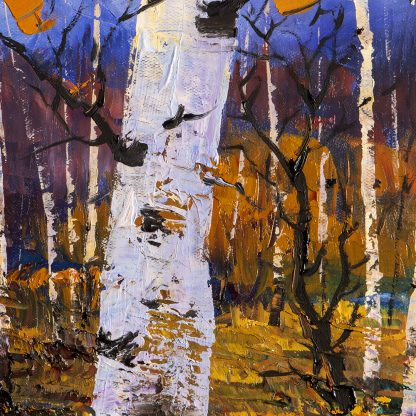 autumn birch forest landscape painting fall colors