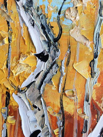 autumn birch forest landscape tree textured palette knife canvas painting
