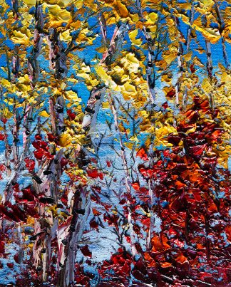 autumn birch forest seasons landscape tree art textured palette knife canvas painting