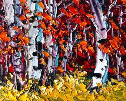 autumn birch forest seasons landscape tree textured canvas oil painting