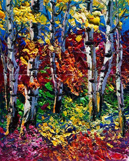 autumn birch forest seasons landscape tree textured canvas painting
