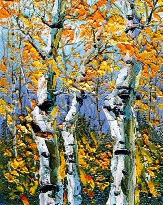 autumn birch forest seasons landscape tree textured oil painting