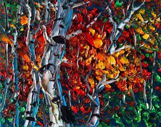 autumn birch forest seasons landscape tree textured palette knife canvas oil painting