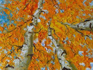 autumn birch forest seasons landscape tree textured palette knife canvas painting
