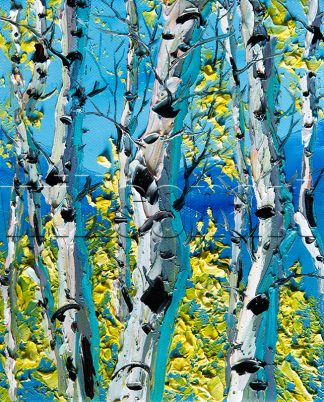 autumn birch forest seasons landscape tree textured palette knife canvas painting wall art