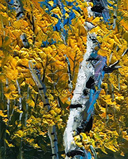 autumn birch forest seasons landscape tree textured palette knife canvas painting wall decor