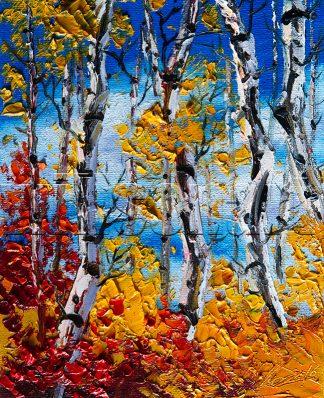 autumn birch forest seasons landscape tree textured palette knife oil painting