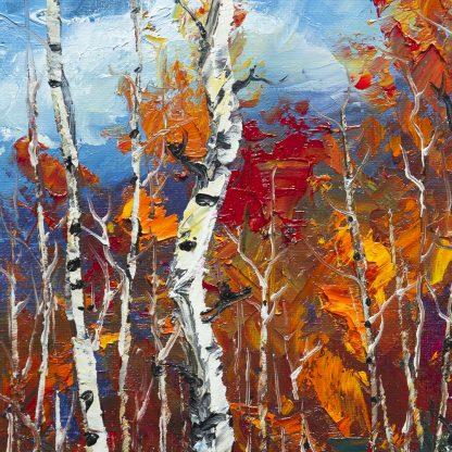 autumn birch oil painting
