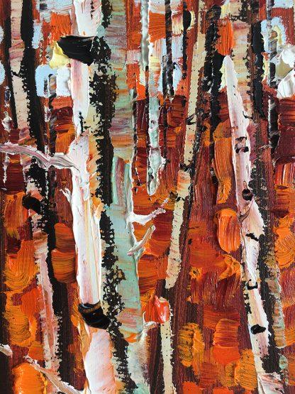 autumn landscape birch forest textured palette knife canvas oil painting