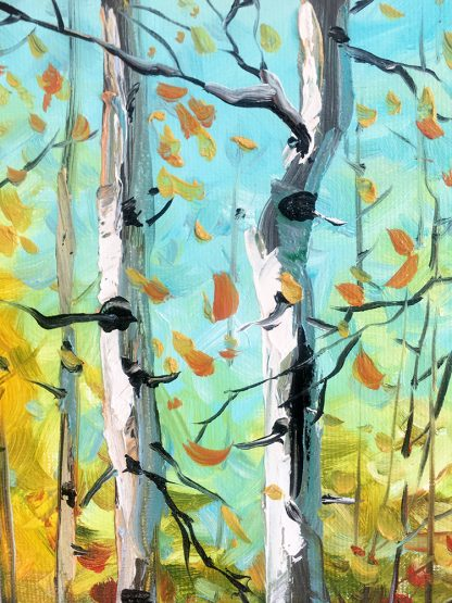 autumn landscape birch forest textured palette knife oil painting