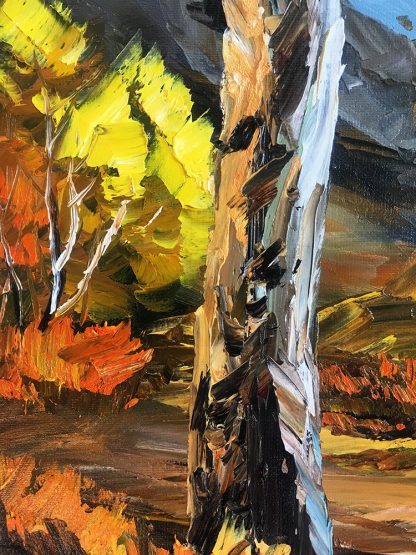 autumn landscape birch tree fall colors textured palette knife canvas painting 16x20inches