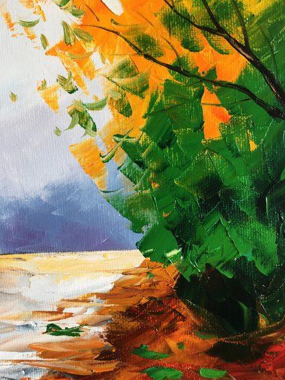 autumn landscape tree seasons textured canvas oil painting wall decor